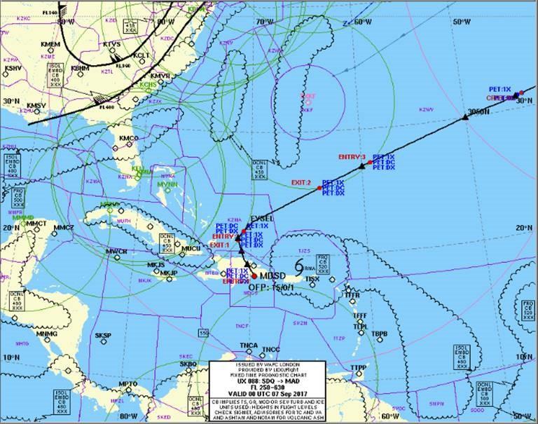 plan de vuelo, huracan irma, volar con huracanes, rutas de vuelo, meteorológia
