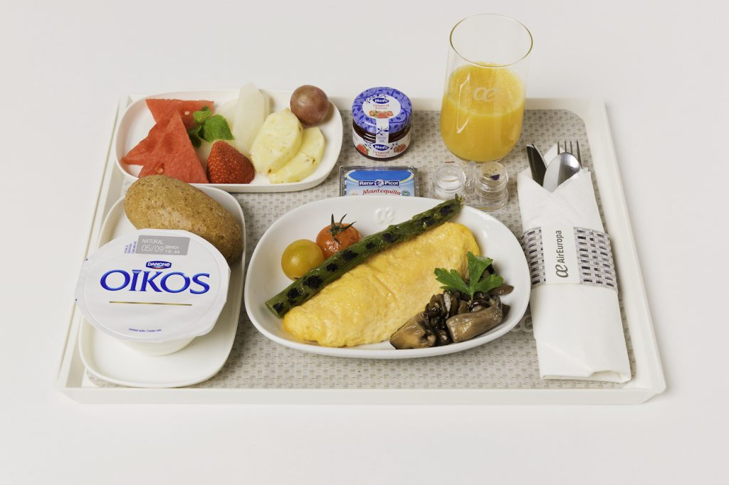 menú desayuno Madrid Tel Aviv, menús a bordo air europa