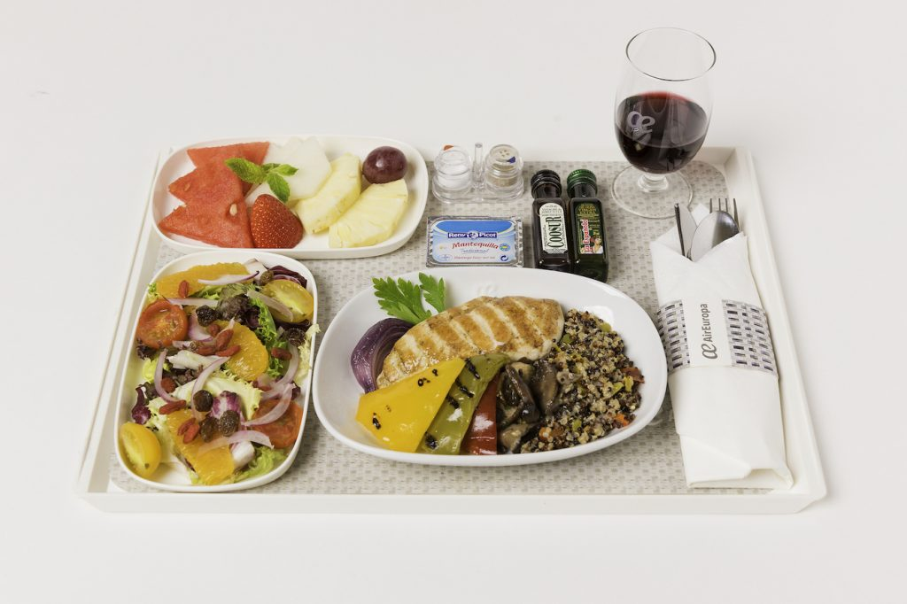 Menús a bordo Madrid Tel Aviv, menú healthy air europa